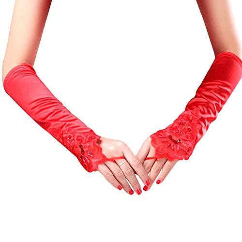(iBaste Spitzenhandschuh der 1920er Jahre Zubehör Flapper Kostüm Fingerlose Handschuhe für Frauen Roaring 20's Accessories Klassische Satin Elbow-Länge-Handschuhe)