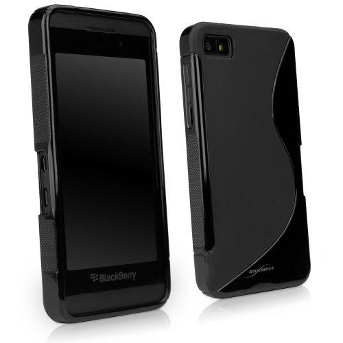 """BoxWave Blackberry Z10DuoSuit–schmalem Ultra langlebig TPU Fall mit stylischen \""""S Design auf der Rückseite–Blackberry Z10Fällen und Abdeckungen (Jet Schwarz)"""