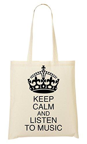 Keep Calm Listen To Music Tragetasche Einkaufstasche