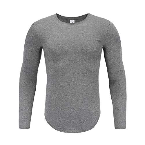 Xmiral Herren T-Shirt Top Lässige Kleidung Solide Langarm Pullover Pure Slim Bottoming Sweatshirt(L,Grau)