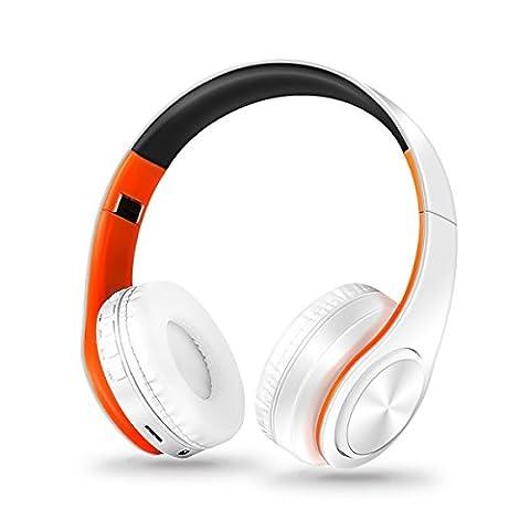 Tutoy Pliable Colorfoul Bluetooth 4,0 Sans Fil Casque Stéréo Avec Mic-Orange Blanc