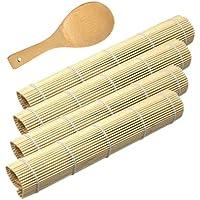 CJBIN Kit de Fabrication Sushi, 4 Tapis de Sushi de Roulement en Bambou avec 1 Palette de Riz Cuillère à Sushi Sushi Mat…
