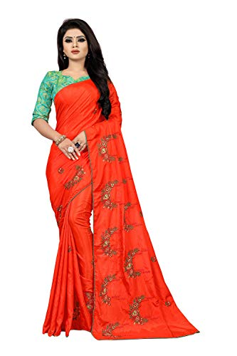 Velmita Women's Sana Silk Embroidered Work Saree With Blouse Piece(Free Size)