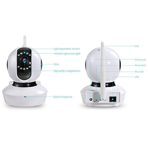 NexGadget Telecamera di Sorveglianza WiFi HD Infrarossi Sorveglianza di movimento Visione Notturna
