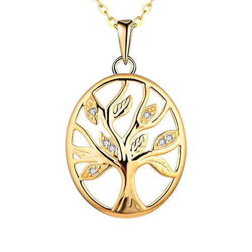 starchenie Mujer Collar Árbol de la Vida Oro Colgante, Collar de Plata 925 Collar de árbol, Mujer, Circonita Colgante Collar Cadena Colgante Chapado en Oro de árbol eliptica para Mujeres Chicas