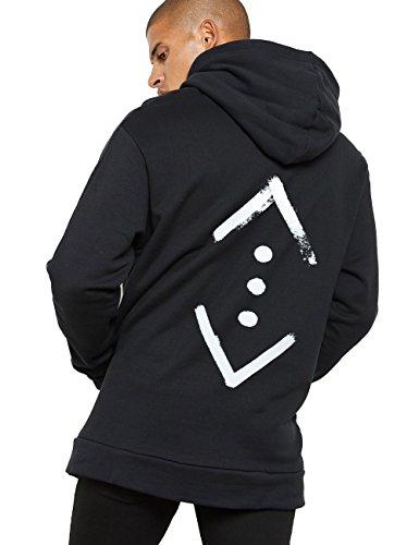 Herren Kapuzen Pullover Hoodie Oversize Kapuzenpullover mit Cukur Back Print Schwarz L