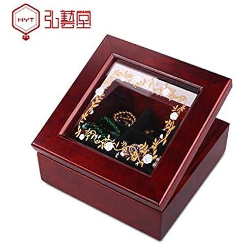 XYXY Hecho a mano joyería caja de reloj maquillaje almacenamiento caso joyas caja de madera
