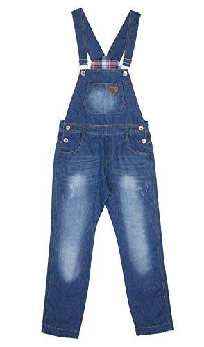 Jungen Latzhose Slim Leg Light Wash Kinder-Latzhose Blau Alter 10 KID048 Gr.140