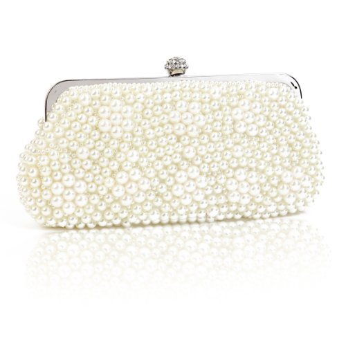 Damara Medium Perle Strassstein Damen Clutch Handtasche,Weiß (Handtasche Satin-damen-medium)
