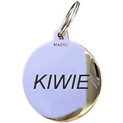 MACHU Médaille Chien Chromée 2,2 cm - Personnalisable - Convient à Petit Chien - Gravure Profonde et Soignée Incluse dans Le Prix.