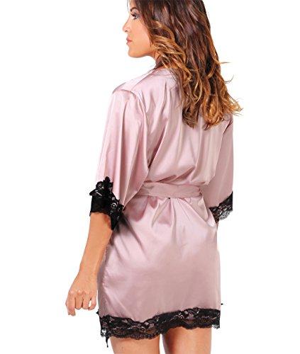 KRISP® Femmes Robe De Nuit En Soie Peignoir en Satin Détails en Dentelle Sexy Rose