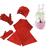 ALASKA fleece Damen 3-tlg. Winter-Spaß-Set mit Mütze, Schal, Handschuhe (Rot)