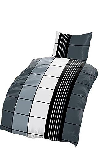 4 tlg Bettwäsche karo 135 x 200 cm schwarz grau anthrazit Microfaser 2 Garnituren M16