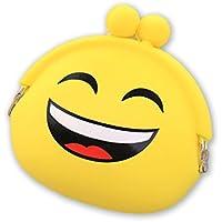 Dosige 1PCS Mujer Mini Cartera,Monedero con Cremallera, Bolso de Llave,Patrón de Expresión de Billetera,Material de Silicona size 9*7*4cm (Amarillo Riendo)