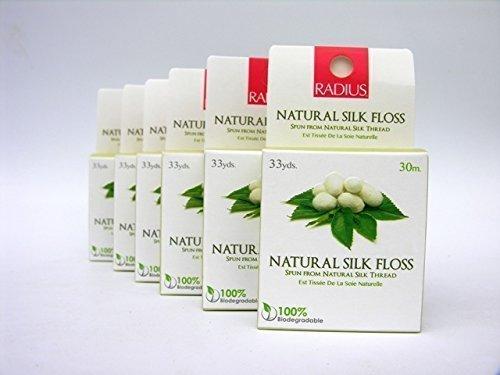 6 x Radius Zahnseide, Handgesponnene Natur Seiden Zahnseide Gewachste mit Candelilla Blätter Wax (Zahnseide Radius,)