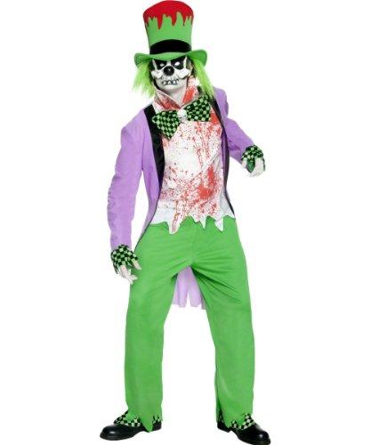 Böser Clown Kostüm Halloween (Blutverschmierter böser Horror-Clown Skelett Halloween Kostüm grün-weiss-lila)