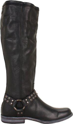 FRYE Women's Phillip Studded Harness Tall Boot, Black Soft Vintage Leather, 10 M US Black Soft Vintage Leather