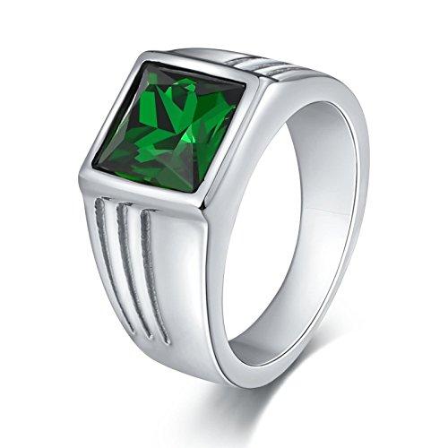 Beydodo Vintage Ring Edelstahl für Männer Zirkonia Grün Quadrat Breite 10 MM Partnerringe Retro Ring Herren Silber Gr. 67 (21.3)