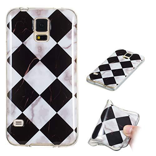 Yunbaozi Marmor Hülle für Samsung Galaxy S5 Schlank Weich Gummi Case Stoßstange Löschen Matte Drucken Natürliche Textur Anti-Scratch Shock Geometrische Muster, Schwarzes Weißes Plaid