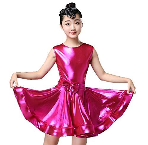 YZLL Lateinamerikanische TanzkostüMe Training ÄRmel Trainingskleidung TanzkostüMwettbewerb Kinder Kleid Rosa Gelb Blau,B,120CM