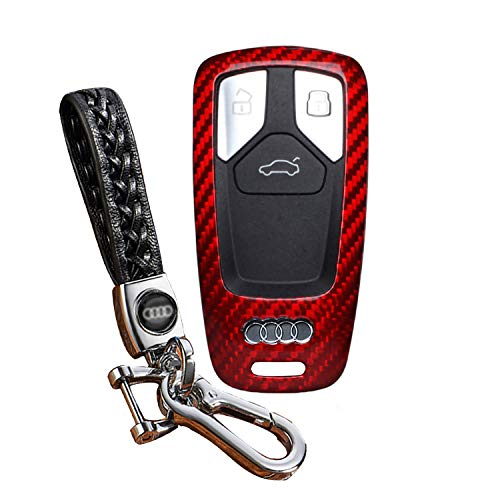 FancyAuto Auto Schlüsselhalter Leichte Dünne Kohlefaser Schlüsseletui Speziell für Audi 16 17 A4L A4 A5 TT S5 mit Webart Leder Schlüsselanhänger(Rot/Schwarz) (Audi A4 Leichter)
