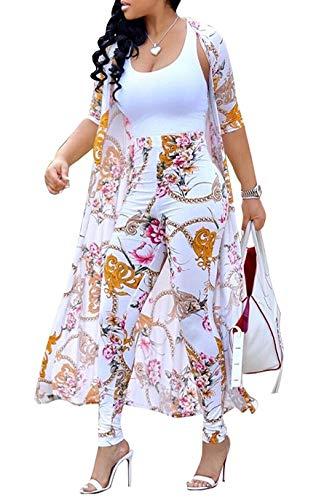 Symina Zweiteiler Damen Blumendruck 2 Stück Outfits Open Front Cardigan Cover Ups und Bodycon Lange Hosen Gesetzt
