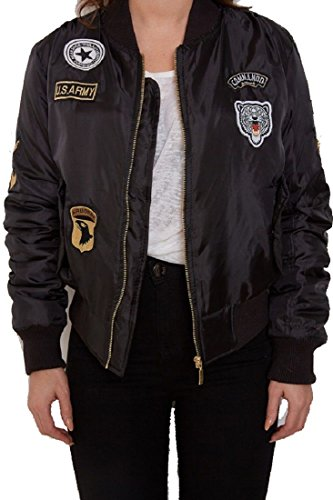 Damen Mädchen Gefechtsabzeichen Army Air Force Bomber Jacket Jacken EUR Größe 36-40 (UK 10 - EUR 38, Black - schwarz) (Frauen Jacke Stil Militärischen)