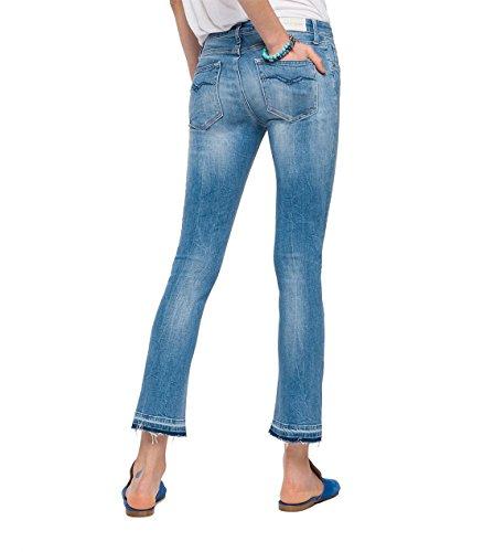 Replay Damen Flared Jeans Dominiqli Blau (Denim 9)