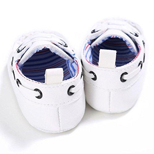 Igemy 1Paar Baby Schuhe Junge Mädchen Neugeborene Leder Krippe Soft Sole Schuh Sneakers White