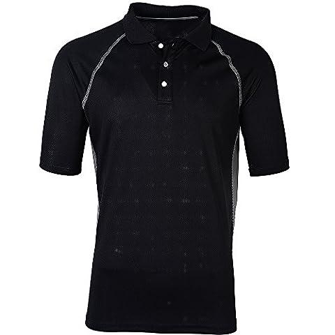 Moheen Men's Short Sleeve Contrast Polo Shirts Black XXXL
