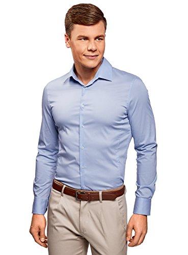 Oodji ultra uomo camicia basic con maniche lunghe, blu, 43cm/it 52/eu 43/l