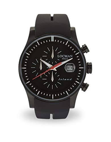 Locman Island/orologio uomo/quadrante nero/cassa acciaio e titanio/cinturino silicone nero/ref. 0620BKKW-BKWSIK