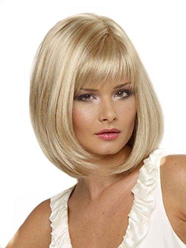 Kalyss Gerade Perücke Kurz Blonde Bob Perrücken Frauen Blond leicht Weiblich Haar Wigs