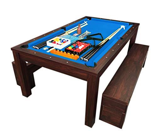 Simba Billardtisch Billard Blaumen 7 FT Billard-Spiel und Containerbänke mit Tischplatte (Kugeln 7ft Billardtisch)