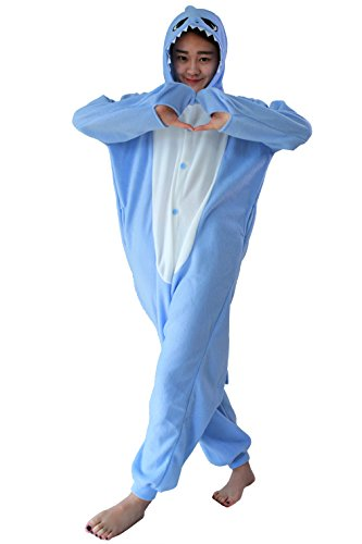 chlafanzug Kigurumi Onesie Pyjamas Overall Nachtwäsche Cosplay Kostüme Kleid Blue Shark XL (Shark Hoodie Halloween Kostüm)