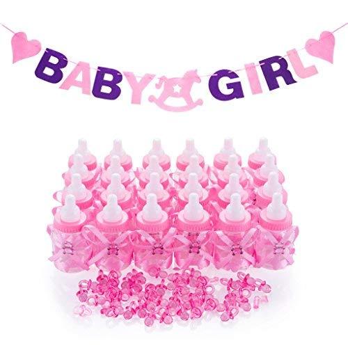 QILICZ 24 Flaschen Geschenk Box Baby-Süßigkeit Baby Candy Junge Box Flasche + 50 Mini Dekoschnuller + Baby Gril Girlande Banner für Mädchen Shower Babydusche Party Taufe Geschenkpaket Babyparty