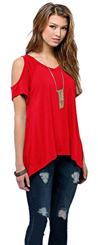 Urban GoCo Femmes Casual Grande Taille Hors épaule T-Shirt V-col Manches Courtes Tops Rouge