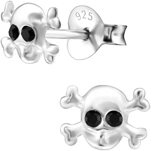 cker Totenkopf 925 Sterling Silber Glitzer-Kristalle 5 x 7 mm onyx-schwarz Mädchen-Ohrringe Skull Kinderschmuck Halloween ()