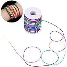 VABNEER 1mm Gemischten farbigem Nylonschnur Sicken Faden Schnur Handwerk Schmuck Armband Herstellung Schn/üre Stretch Beading Thread 100m//Rollen