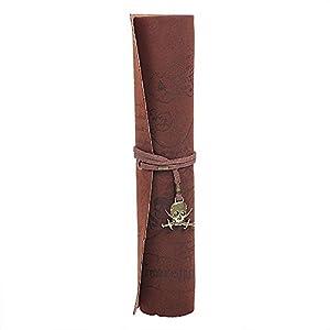 wommty Roll Up PU Funda de piel soporte para el lápiz bolsa Cosmética bolsa Retro Vintage pirata patrón de mapa del…