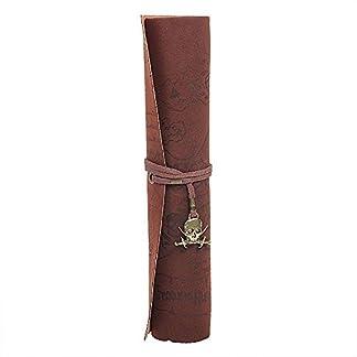 wommty Roll Up PU Funda de piel soporte para el lápiz bolsa Cosmética bolsa Retro Vintage pirata patrón de mapa del tesoro