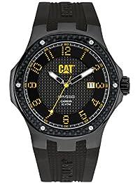 Chat Navigo carbone hommes de montre à quartz avec affichage analogique et bracelet en silicone noir cadran noir a5.161.21.111