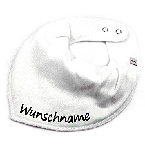 HALSTUCH mit Namen oder Text personalisiert weiß für Baby oder Kind