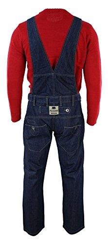 Herrenlatzhose Blau Denim Jeans Retro Lässiges Design Regular Schnitt Neu Blau