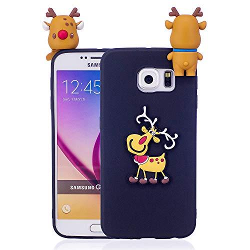 Für Samsung Galaxy S6 Weihnachtsserien-Kasten-Abdeckung, HengJun Weihnachtsdünnes weiches Silikon-Kasten-3D kreativer Art- und Weisekühler Karikatur-netter stoßfester Gummikasten für Samsung Galaxy S6 - Weihnachtselch-Schwarzes