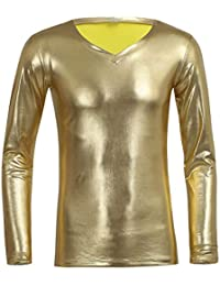 iiniim Herren Langarmshirt Wetlook Metallic Hemd Shirt Männer Tops mit  Reißverschluss Party… 5b0bda9498