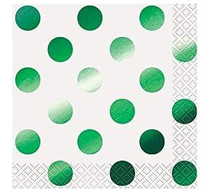 Unique Party 51631Lámina verde lunares servilletas de cóctel, pack de 16