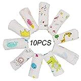 ViVidLife Asciugamani Bambini Mussola, 10 PCS Asciugamano Viso Infantile 100% Cotone Chiffon Fumetto Baby Accessorio Fazzoletto per neonati Neonato, 30 * 30cm