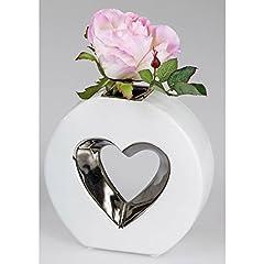 Idea Regalo - Vaso Decorativo Hearts cuore ovale H. 15cm Bianco Argento Ceramica formano