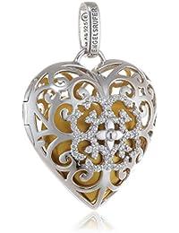 Engelsrufer ERP-09-HEART-ZI-L - Ciondolo da donna a forma di cuore, con campanellino, in argento 925 rodiato placcato in oro, con zirconi, colore: bianco